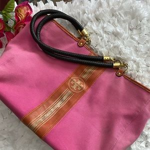 Tory Burch XL Canvas Pink Tote w/Braided Handles